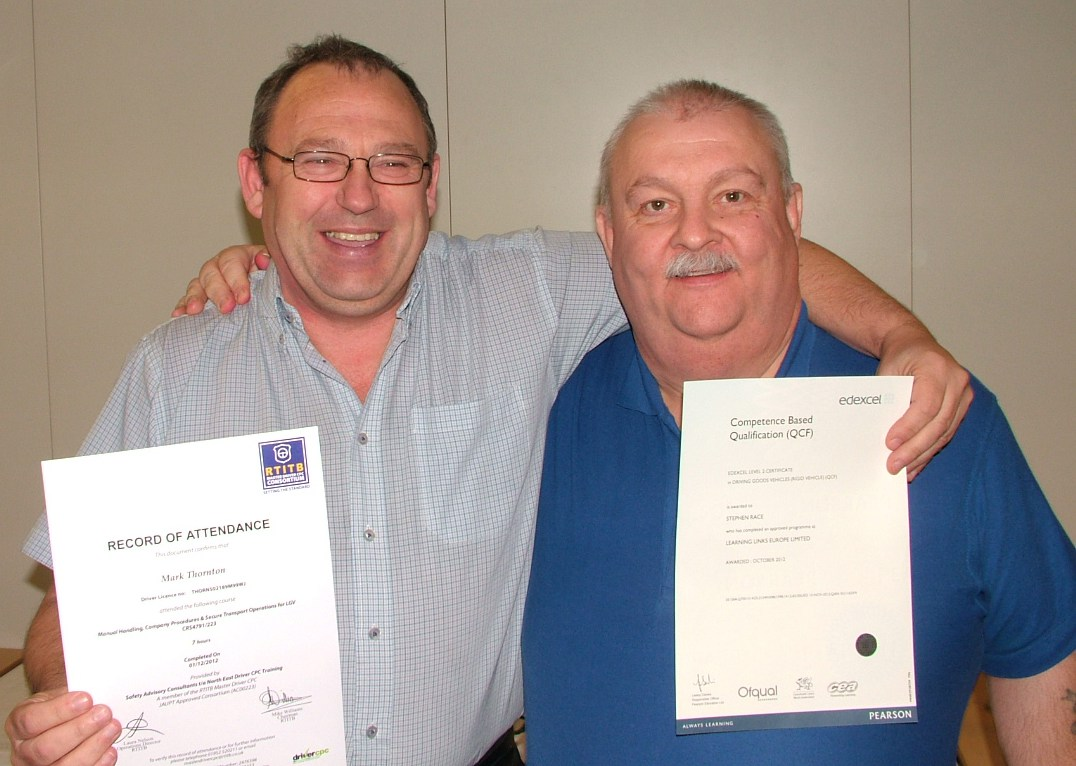 Paul Shorten with RTITB Certificate and Owen Pugh Transport  Manager
