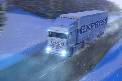 photo of Lorry in the snow (night)
